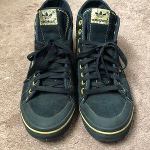 tormenta columpio esfera  adidas Shoes   3 Streifen The Brand Black Gold High Tops   Poshmark